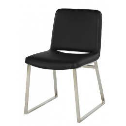 Elle Matt Stainless Steel Dining Chair (Leather)