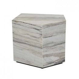 Rufus Block Asymmetrical Marble Side Table