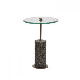 Amelie Pillar Terrazzo Round Side Table